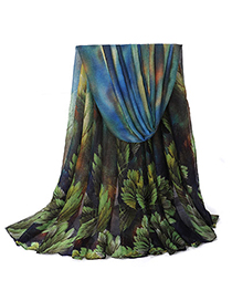 Waxing Green Leaf Pattern Simple Design Voile Thin Scaves