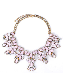 Dancing Pink Gemstone Decorated Leaf Shape Design