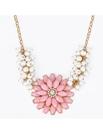 Woolrich Pink Pearl Decorated Flower Design Alloy Korean Necklaces