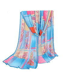 Steelers Blue Flower Pattern Decorated Square Design Silk Thin Scaves