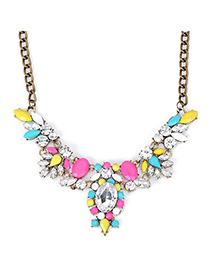 Long Multicolor Gemstone Decorated Oval Shape Design Alloy Bib Necklaces