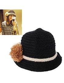Pendants Black Big Ball Decorated Simple Design Wool Knitting Wool Hats