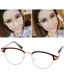 Attractive Brown Half Frame Simple Design Resin Fashon Glasses