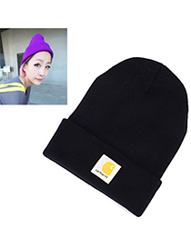 Modest Navy Blue Square Pattern Decorated Simple Design Wool Knitting Wool Hats