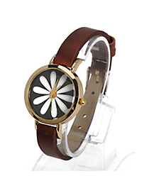 Monarch Dark Brown Flower Pattern Decorated Simple Design Alloy Ladies Watches