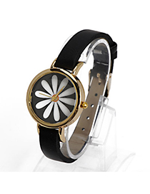 Catholic Black Flower Pattern Decorated Simple Design Alloy Ladies Watches