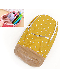 Memorable Yellow Dot Pattern Decorated Bag Shape Design Canvas Wallet