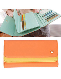 Headrest Orange Crown Decorated Simple Design Leather Wallet