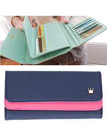 Mysterious Navy Blue Crown Decorated Simple Design Leather Wallet
