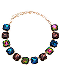 French Multicolor Gemstone Decorated Square Shape Design