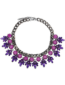 Christenin Purple Gemstone Decorated Bee Shape Design Alloy Bib Necklaces