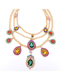 22K Green & Gold Color Gemstone Decorated Watetdrop Pendant Design Alloy Fashion Necklaces