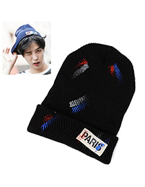 Moving Black Lettern Paris Pattern Simple Design Wool Knitting Wool Hats