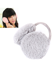 Double Gray Pure Color Simple Design Wool Fashion Earmuffs