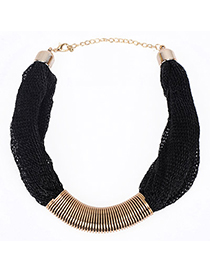 Venetian Black Gemstone Decorated Simple Design Alloy Bib Necklaces