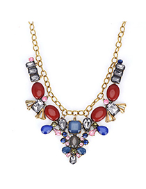Glam Bronze & Claret-red Gemstone Decorated Simple Design Alloy Fashion Necklaces