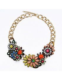 Quality Pink & Yellow Gemstone Decorated Flower Design Alloy Bib Necklaces