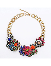 Elegant Multi-color(ab) Gemstone Flower Shape Decorated Short Chain Necklace