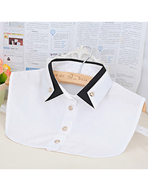 Childrens White Double Layer Collar Shirt Shape Design Cotton Detachable Collars