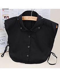 Male Black Pearl Decorated Shirt Shape Design Cotton False Collar