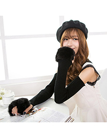 Hydraulic Black Imitation Cashmere Decorated False Sleeves Deisgn Cashmere Fingerless Gloves