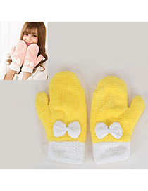 Micro Yellow Bowknot Decorated Fingerless Simple Design Pashm Full Finger Gloves