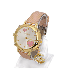 Fair Pink Moon Star Shape Decorated Simple Design Alloy Ladies Watches