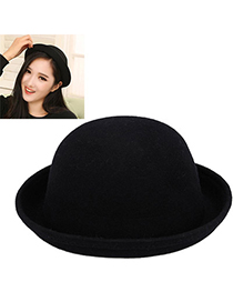 Fantasy Navy Blue Pure Color Simple Design Woolen Beanies Others