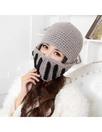 Cocktail Gray Multifunctional Little Angle Design Wool Knitting Wool Hats