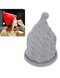 Wholesale Gray Pure Color Twist Simple Design Wool Knitting Wool Hats
