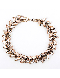 Chunky Gold Color Gemstone Decorated Leaf Shape Design Alloy Bib Necklaces
