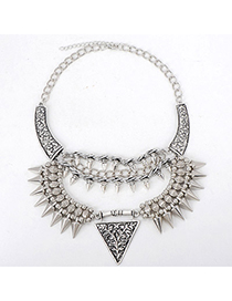 Flip Silver Color Rivet Shape Decorated Multilayer Design