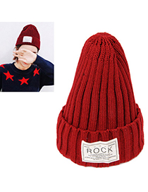 Jogging Dark Red Letter Rock Decorated Simple Design Wool Knitting Wool Hats