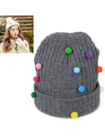 Barbie Gray Small Colored Balls Decorated Simple Design Wool Knitting Wool Hats