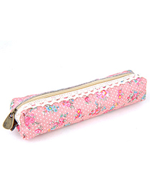 Woolrich Pink Flower Pattern Simple Design Canvas Pencil Case Paper Bags