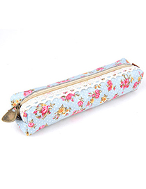 Splendid Sky Blue Flower Pattern Simple Design Canvas Pencil Case Paper Bags