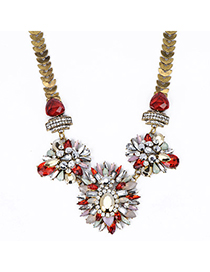 Natural Red Gemstone Decorated Flower Design Alloy Fashion Necklaces