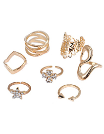 Indie Gold Color Diamond Decorated Star Shape Design (7pcs)