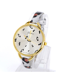 Security Silver Color Leopard Pattern Simple Design Pu Ladies Watches