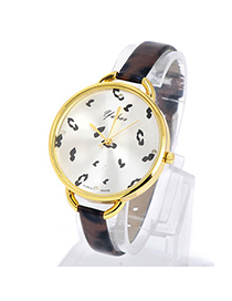 New Coffee Leopard Pattern Simple Design Pu Ladies Watches