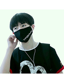 Baggy Black Letter Tfboys Decorated Simple Design Cotton Face Mask