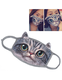 Mexican Gray Cat Pattern Decorated Simple Design Cotton Face Mask