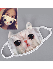 Political White Cat Pattern Decorated Simple Design Cotton Face Mask