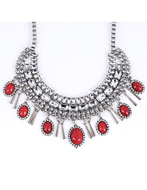 Business Claret-red Gemstone Decorated Oval Shape Design Alloy Fashion Necklaces