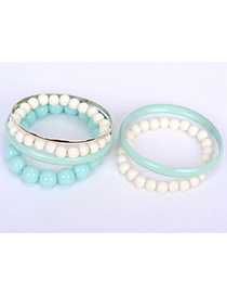 Outlook Blue Pearl Decorated Multilayer Design Alloy Fashion Bangles