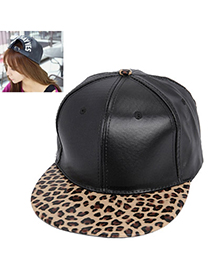 Carters Black Leopard Pattern Simple Design Pu Baseball Caps