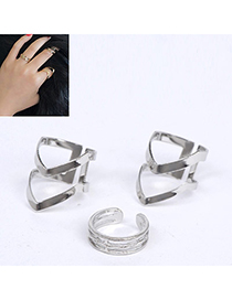 Velvet Silver Color Triangle Shape Decorated Simple Design Alloy Korean Rings