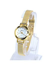 Sequined Gold Color Thin Strap Simple Design Alloy Ladies Watches