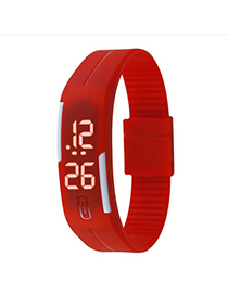 Lightest Red Pure Color Creative Simple Design Silicone Ladies Watches
