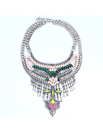 Vibrating Silver Color & Pink Diamond Decorated Tassel Design Alloy Bib Necklaces